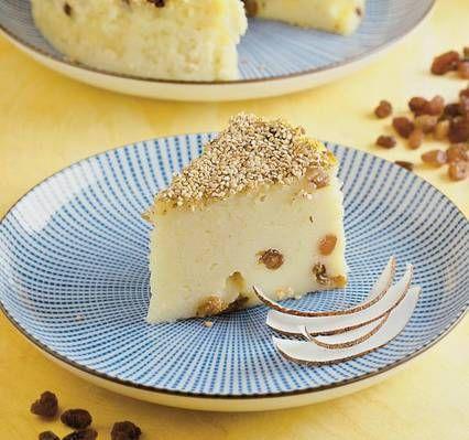 Prăjitură de griş cu stafide aurii
