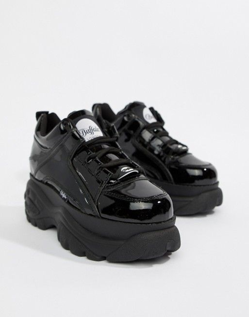 London Trainers Classic Patent Low Buffalo Platform In Black Top 0wN8OXZknP