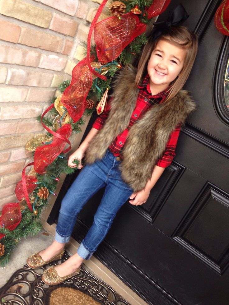 the jeans look too small & I don't care for the shoes but the fur vest with plaid flannel is a cute idea