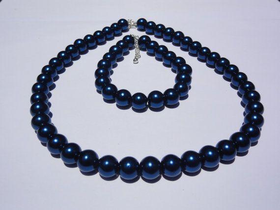 Navy Blue Jewelry Bridesmaid Pearl Jewelry. by StunningGemsJewelry