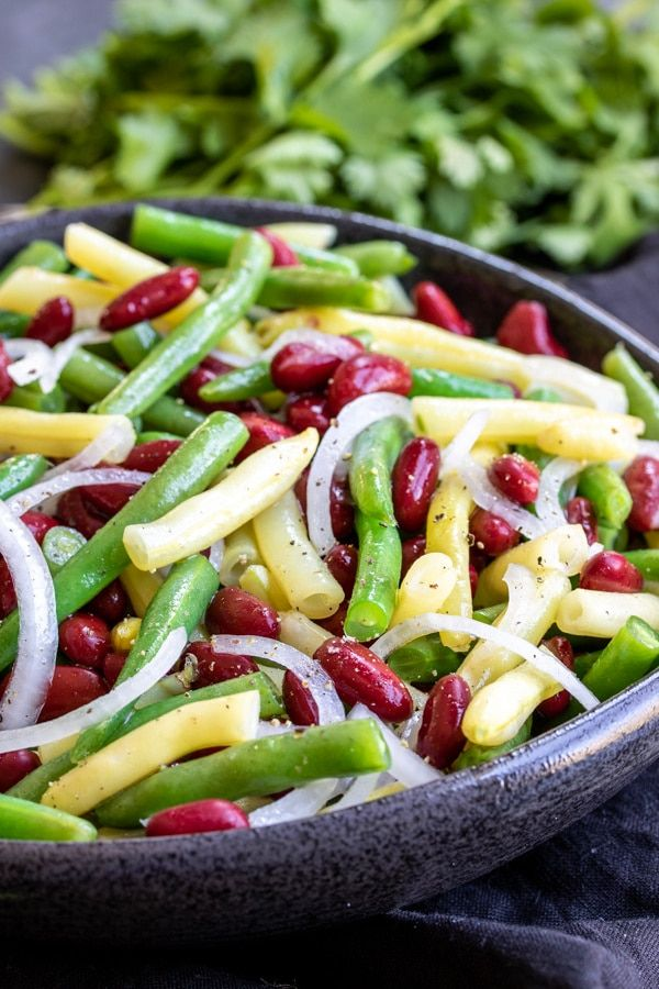 This Easy Three Bean Salad Is The Best Classic Salad Recipe For Summer Potlucks It S A Gluten Free Vegan Side Bean Salad Recipes Three Bean Salad Bean Salad