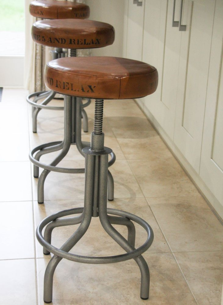 Industrial Bar Stools: Spinner Table / Bar Stool Tan adjustable seat 52cm - 72cm in Home, Furniture & DIY, Furniture, Stools & Breakfast Bars | eBay!