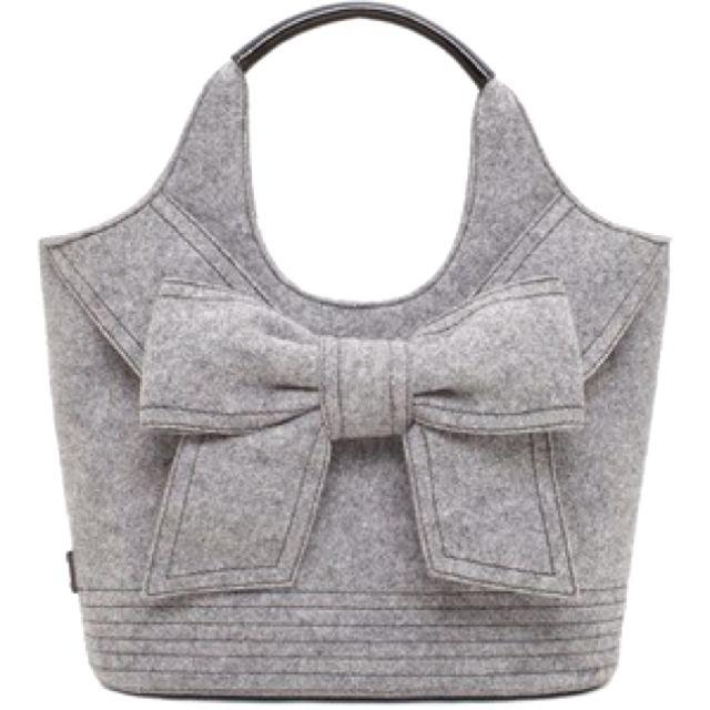 gray felt purse with bow