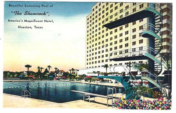 Houston Texas Shamrock Hotel Linen Postcard, Vintage 1955 Ephemera, FREE SHIPPING$7.25