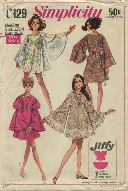"Vintage Sewing Pattern | Tablecloth Dress | Simplicity 8129 | Year 1968 | Bust 34-36 | Waist 25½-27 | Hip 36-38 | Views 1 and 2 for 70"" round tablecloth"