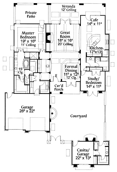 Floor plans aflfpw10173 1 story adobe home with 3 for Adobe home floor plans