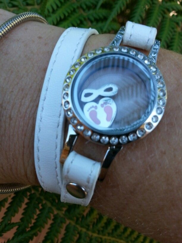 Leather wrap My Moments white Bracelet with baby girl heart and eternity charms -ENVY
