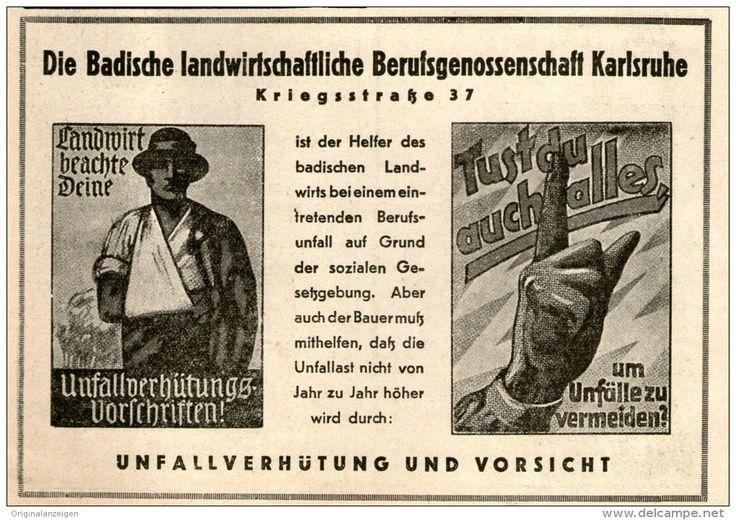 Original-Werbung/ Anzeige 1949 : BADISCHE LANDWIRTSCHAFTLICHE BERUFSGENOSSENSCHAFT KARLSRUHE - ca  130 x 90 mm