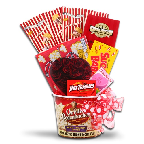 You're My Sugar Baby  Filled to the rim with many special treats to cuddle up on the couch and watch your favorite romantic film together.  One Orville Redenbacher Popcorn tub is filled with two popcorn scoop sleeves, two bags of Orville Redenbacher Popcorn, one box of Jack Allen Chocolate Chip Cookies (2oz), one box of Sugar Babies Candy (6oz), one Elmer's Chocolate Heart (2oz), one box of Necco Sweethearts (1oz), and one box of Hot Tamales Candy (.78oz).  $39.99