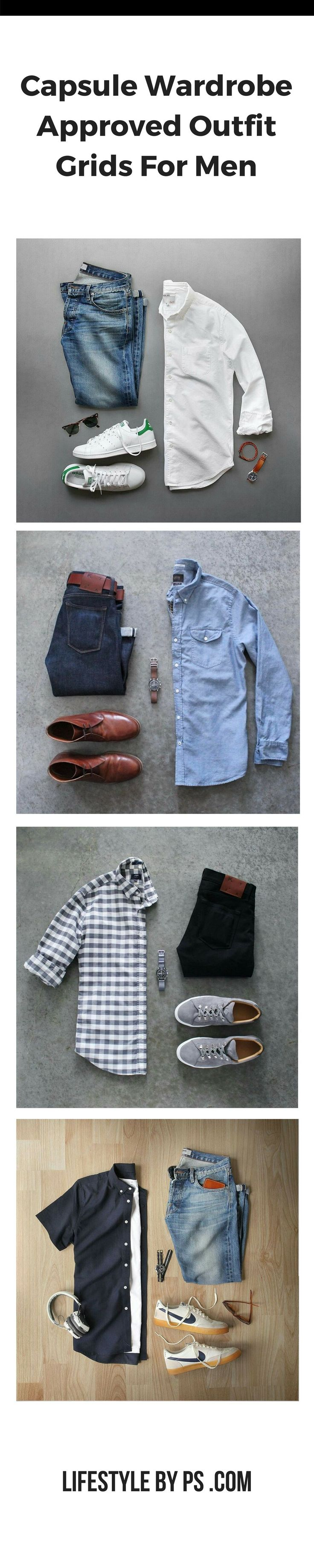 Capsule Wardrobe Outfit Grids For Men. #mens #fashion