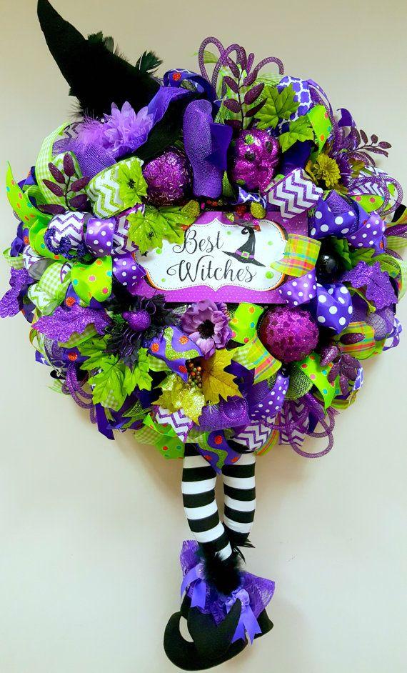 Fall Wreath Halloween Wreath Housewarming by BlackandWhiteCandles (Diy Halloween Wreath)