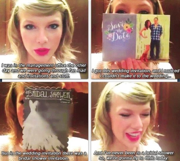 I watched this video and it was so nice of her!! This is one of the many reasons I love Taylor :)