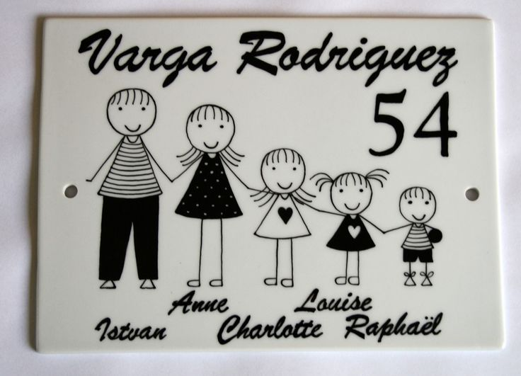 Plaque de maison famille personnalisable blanc et noir avec prénoms