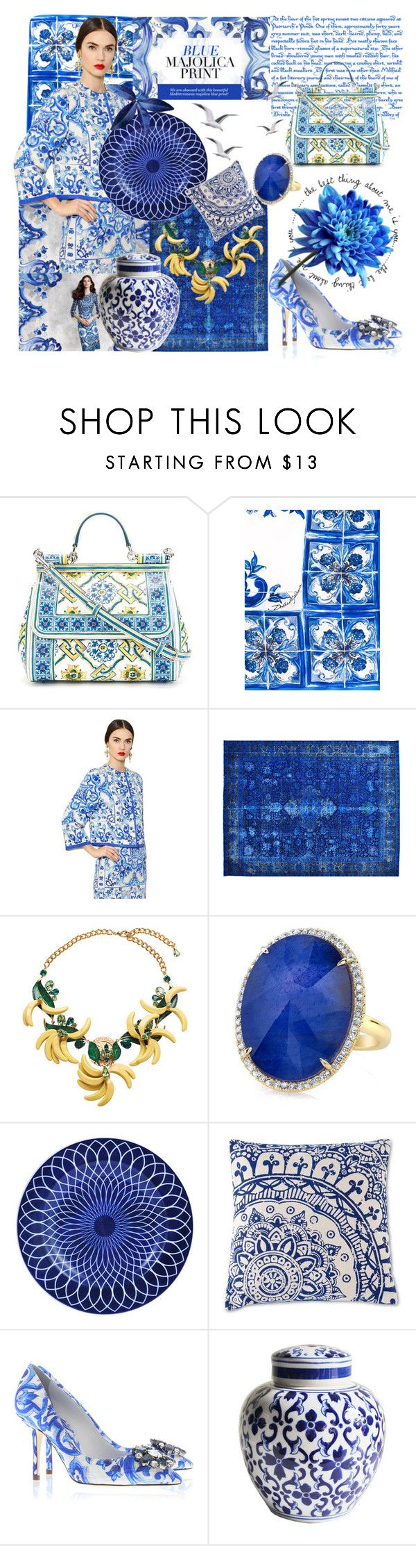 """""""Blue Majolica Print"""" by capetownfashion on Polyvore featuring Dolce&Gabbana, Orientalist Home and Shiraleah"""