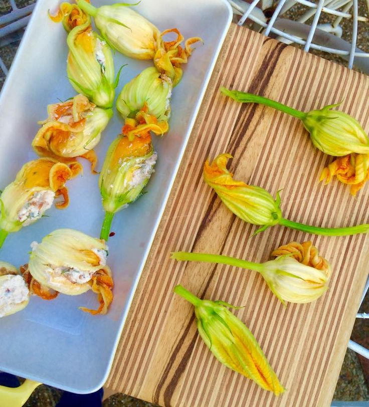 Utterly delicious courgette and pumpkin flowers stuffed with spiced ricotta