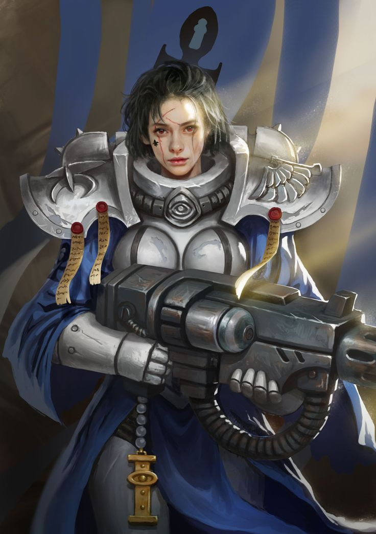 Order of the Blue Robe by yangzheyy female fighter mercenary soldier military army platemail armor clothes clothing fashion player character npc   Create your own roleplaying game material w/ RPG Bard: www.rpgbard.com   Writing inspiration for Dungeons and Dragons DND D&D Pathfinder PFRPG Warhammer 40k Star Wars Shadowrun Call of Cthulhu Lord of the Rings LoTR + d20 fantasy science fiction scifi horror design   Not Trusty Sword art: click artwork for source