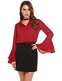 New SummerRio Women's Sexy Sheer Chiffon Blouses Long Bell Sleeve Top Button Down Shirts online. Find the perfect OURS Tops-Tees from top store. Sku KGEZ74812XECU66227