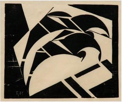 Thijs Rinsema, Two riders, linocut on Japanese paper (circa 1925)