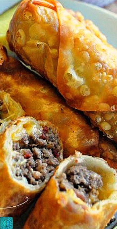 Bacon Cheeseburger Egg Rolls ❊