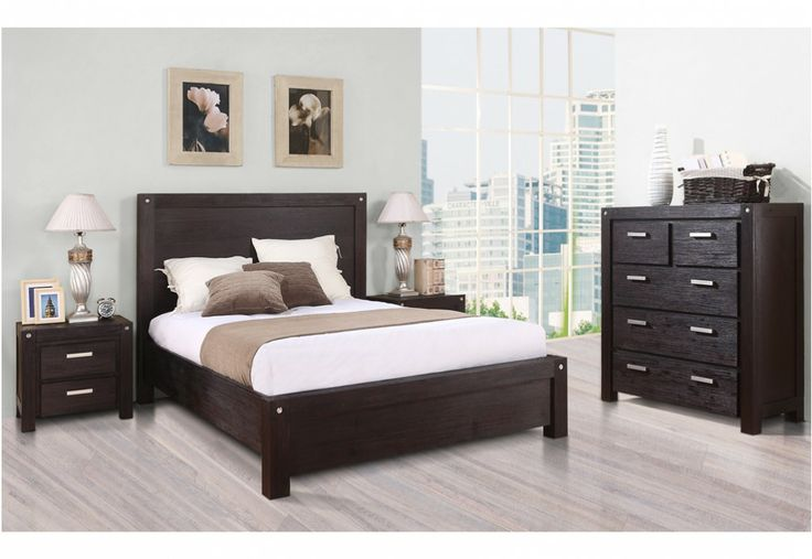 BOMBAY - 4 Piece = King bed, 2 bedside chests & 1 tall chest http://www.superamart.com.au/bombay-49035/