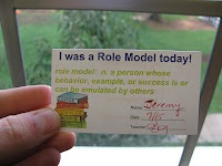 """Students have parents sign the back and return it to the """"Role Model"""" bin. At the end of the month I'll pull three cards and those students will get a bonus treat (homework pass, lunch with friend, etc)."""