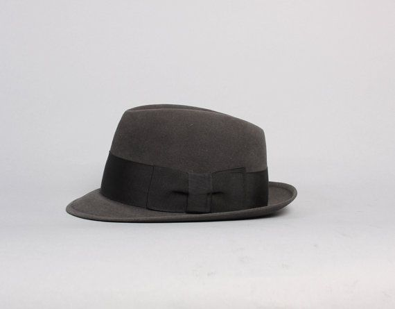 vintage 50s Sovereign STETSON Fedora / Charcoal GRAY Mode Edge HAT, 7 1/8