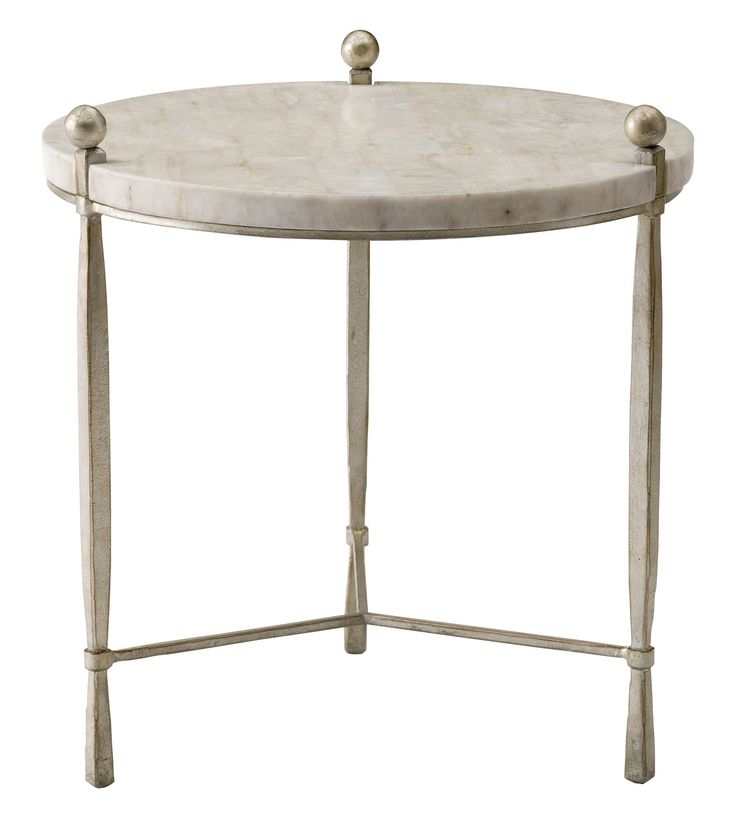 This Beautiful, Round Accent Table Blends Simple Design Concepts With  Lovely Finishes. The Steel Base Flaunts A Champagne Silver Leaf Treatment,  Calling.