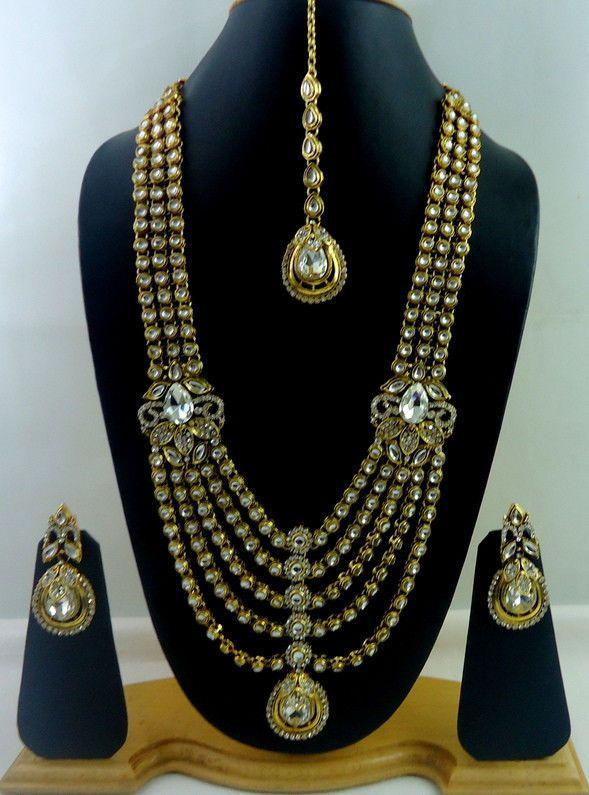 Designer White Kundan Cz Gold Tone Rani Haar Bridal Necklace Set Jewelry 4 Pcs