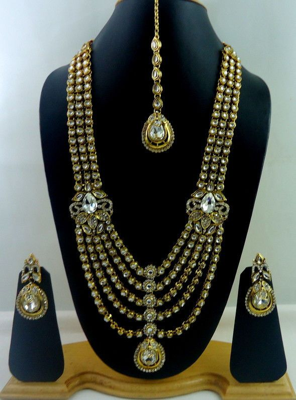 Designer White Kundan Cz Gold Tone Rani Haar Bridal Necklace Set Jewelry 4 Pcs