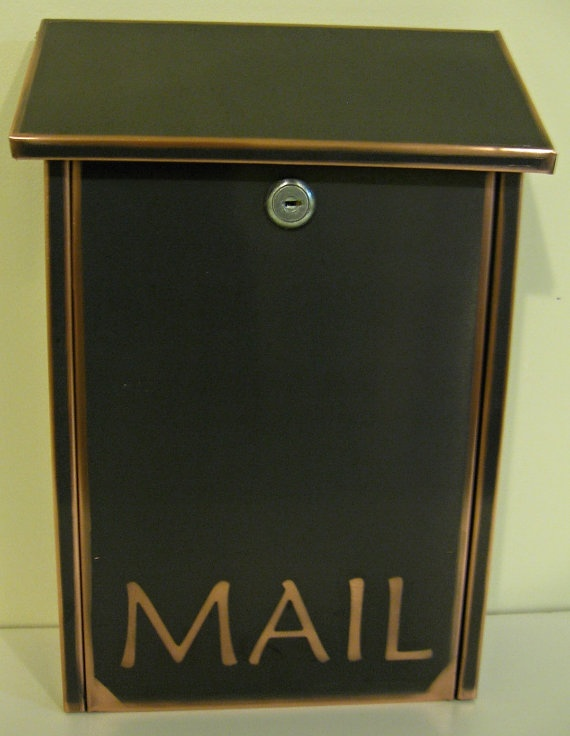 Wall Mount black patina copper Mailbox by copperdesign on Etsy, $99.00