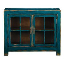 Ming Small Media Cabinet Aged Teal from Ethan Allen