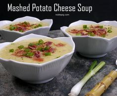 Mashed Potato Cheese Soup from NoblePig.com The perfect way to use mashed potatoes from Thanksgiving or any other night.