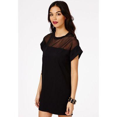 Missguided Black Oversized Mesh Panel Shift Dress