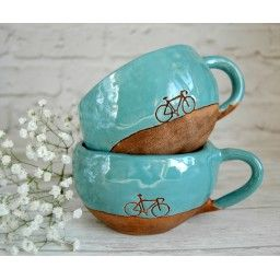 "Yes you can combine your love bikes and rustic folk style with this delicate ceramic design , perfect for those hygge moments with a chocolate by the fire after an evening ride. Homeware inspiration. Чашка бирюзовая ""Велосипед"""