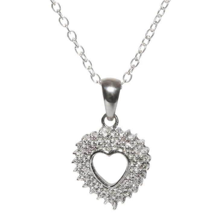 """Elegant sterling silver diamond open heart necklace on 18"""" silver chain. If you are looking for a nice, affordable diamond necklace (0.03 ct, I-J color, I2-I3 clarity) this is definitely a winner. As"""