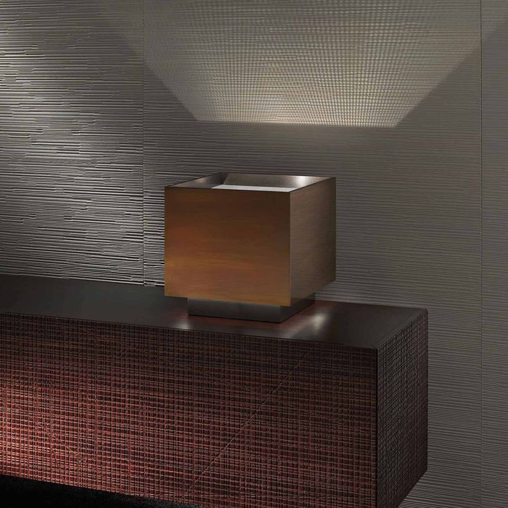 Light Cube MA 25 Table lamp in burnished and black nickeled brass with diffusor in micro perforated stainless steel. By Mark Anderson   Laurameroni