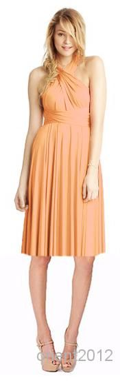 Wholesale -Cheap Many Uses Practicable Yellow DIY Convertible Neckline Knee Length Chiffon Bridesmaid Dresses Bridesmaid Dresses Online with $62.69/Piece on Orient2012's Store   DHgate.com