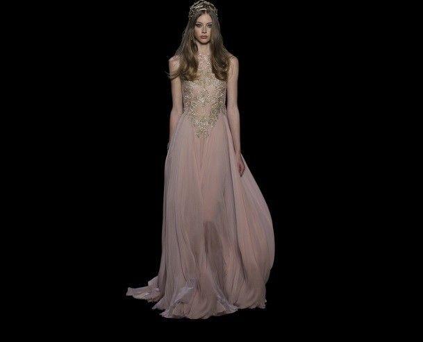 Vestito da sposa oro e cipria - Elie Saab sposa 2016: long dress con corpino ricamato e dorato