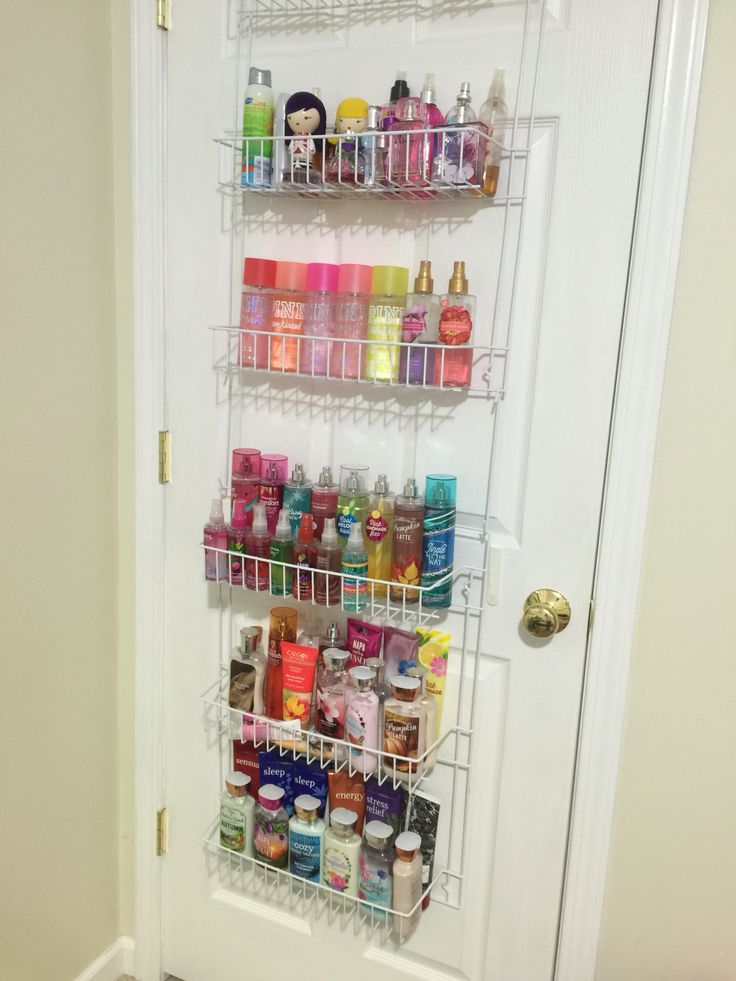 Use an Over the Door Spice Rack organizer in the bedroom to organize lotions and perfumes.