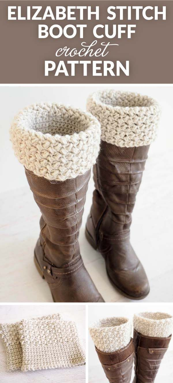 Elizabeth Stitch Boot Cuff Crochet Pattern - very quick and easy to make. They're the perfect accessory to go with a pair of jeans and your favorite boots. #crochetlove #crochetlife #crochetblanket #crochetaddict #crochetpattern #crocheteveryday #crochetinspiration #crochetgoodness #crochetdesign #crochetgirlgang #crochetallday #crochetgeek