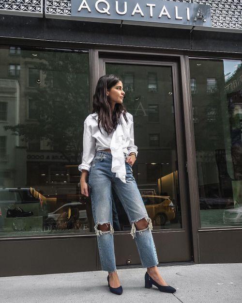 White ruffled shirt, blue straight-leg jeans & block-heel navy court shoes | @styleminimalism