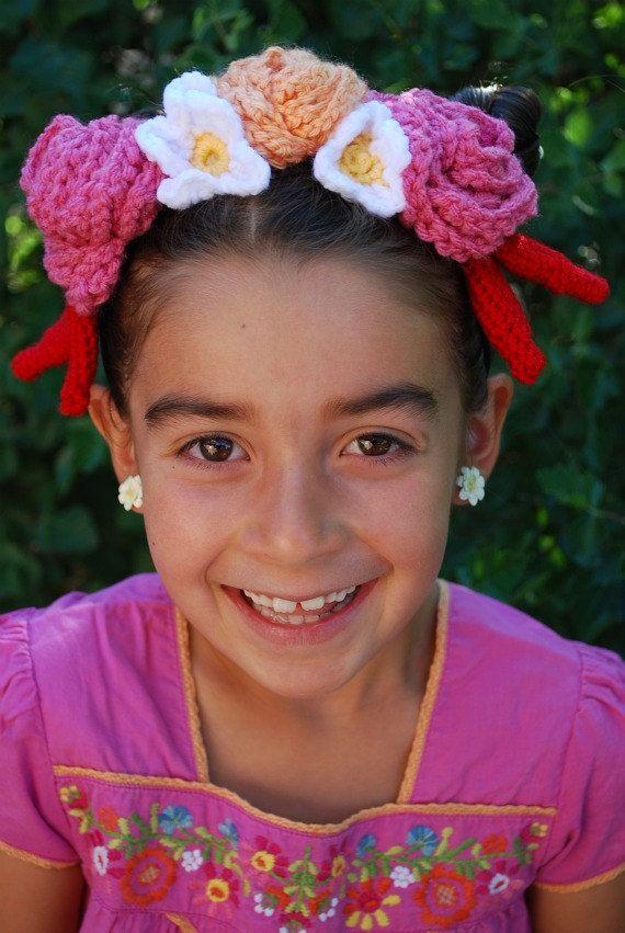 Frida Kahlo style crochet headdress by youcute on Etsy, $65.00Kahlo Style, Frida Crochet, Crochet Headdress, Crochet Style, Frida Kahlo, Style Crochet, Frida Khalo, Kids Fun,  Poke Bonnets