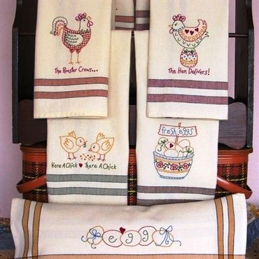 Ordinaire Tea Towels With Whimsical Chicken Designs To Embroider On Dunroven Striped  Towels.