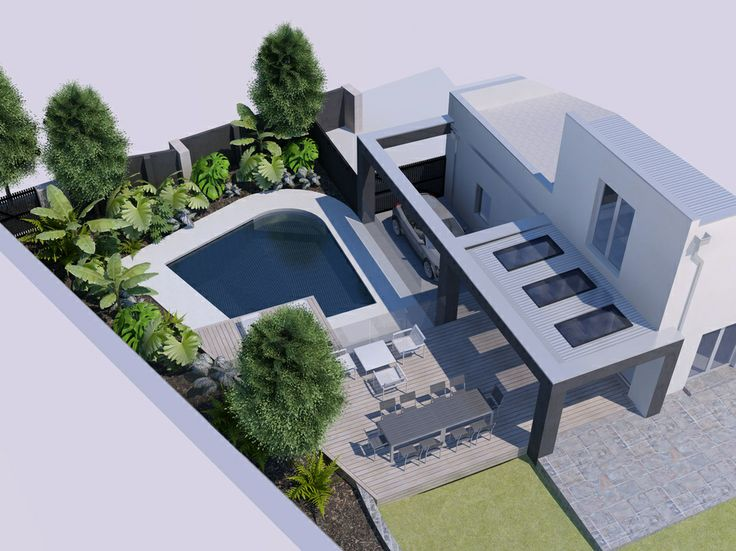 Lai Cheong Brown Architects - Ivanhoe East Concept design for a new #pool and decks associated with an existing house - #SketchUp and #Podium with a little #Photoshop