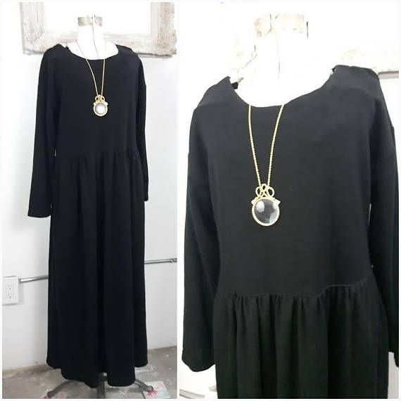 Vintage 80s Drop Waist Sweater Maxi Dress Witchy Dress Black