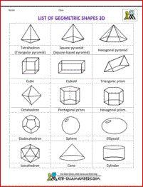 list of geometric shapes 3d bw printable