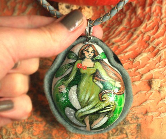 Stone necklace with a hand-painted little fairy witch by SkadiaArt
