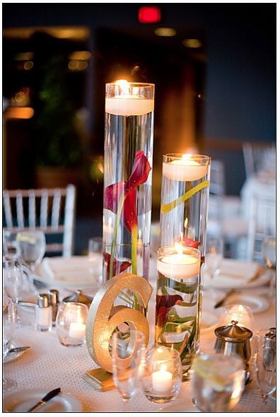 Floating candles: Wedding, Floating Candles, Calla Lilies, Submerged Flower Centerpieces, Centerpieces Wedding Ideas, Submerged Flowers, Center Piece