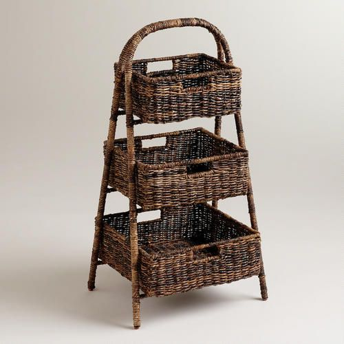 Wonderful storage for potatoes, onions, and winter squash...toss a pretty dish towel over the taters and onions so they don't 'grow'...the wicker allows them to breathe.  --  Marisa Madras 3-Basket Tray Stand