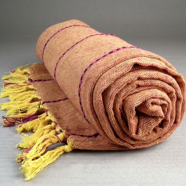 100 indian cotton earthy natural throw rug blanket bedspread mexican orange lge
